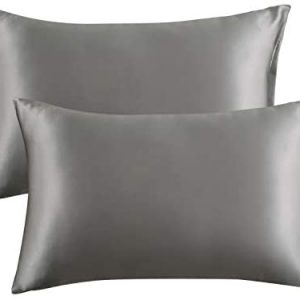 Bedsure Satin Pillowcase for Hair and Skin Silk Pillowcase 2 Pack , Queen Size (Dark Grey, 20x30 inches) Pillow Cases Set of 2 - Slip Cooling Satin Pillow Covers with Envelope Closure