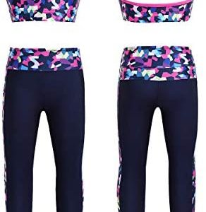 CHICTRY Kids Girls' 2 Piece Athletic Leggings with Tank Crop Tops Outfits Sets for Gymnastics Sports Workout Fitness
