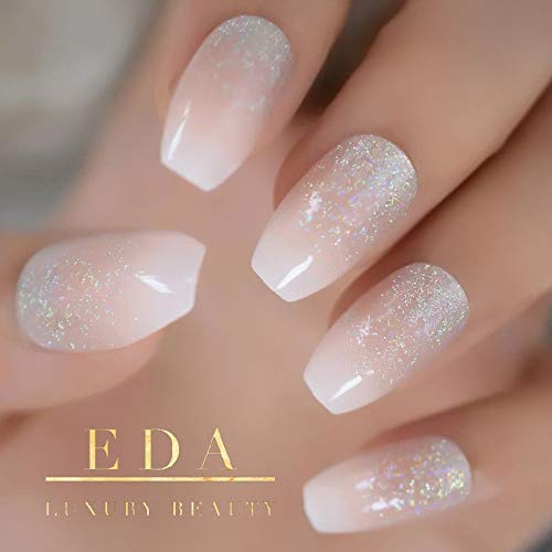 EDA LUXURY BEAUTY NATURAL NUDE PINK WHITE OMBRE GLITTER FRENCH LUXE DESIGN Full Cover Press On Nails Acrylic Nail Kit Artificial Nail Tips Long False Nails Ballerina Coffin Square Nail Art Fake Nails