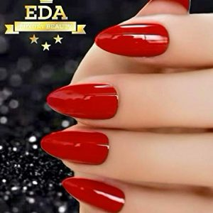 EDA LUXURY BEAUTY RED LUXE DESIGN Full Cover Press On Nails Professional Acrylic Nail Kit Artificial Nail Tips False Nails Extra Long Oval Round Pointed Almond Stiletto Nail Art Fashion Fake Nails