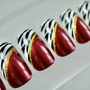 EDA LUXURY BEAUTY RED BURGUNDY ANIMAL PRINT FRENCH LUXE DESIGN Full Cover Press On Nails Acrylic Nail Kit Artificial Nail Tips False Nails Extra Long Ballerina Coffin Square Nail Art Fake Nails