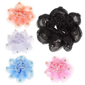 EOPER 5 Pieces Girls Bun Covers Snood Ballet Dance Barrettes Hair Clip Net For Sport Dancing Skating Colorful