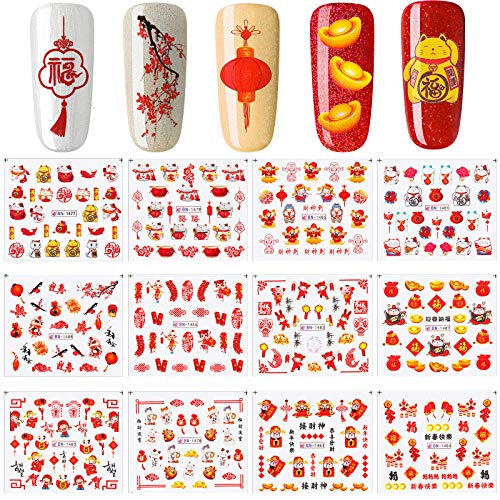 12 Sheets Chinese New Year Nail Art Sticker Women Manicure Decor Spring Festival Nail Decal Water Transfer Nail Art Decals for Women Girls New Year Nail 2021 DIY Decoration