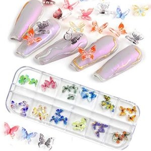 Butterfly Nails 3D 36Pcs Butterfly Acrylic Nail Charms Glitter Clear Butterfly Nail Designs 2021 White Blue Colorful Butterfly Acrylic for Nail Art Decoration & DIY Crafting Design