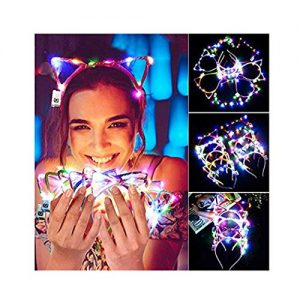 Campsis Led Cat Ear Headbands Christmas Lights Fashing Hairbands Kids Halloween Christmas Birthday Party Dance Prom Decorations Hair Accessories for Women and Girls(Pack of 6)