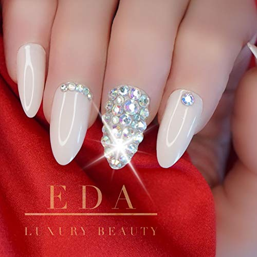 EDA LUXURY BEAUTY NATURAL NUDE PINK BEIGE 3D JEWEL DESIGN Full Cover Press On Nails Acrylic Nail Kit Artificial Nail Tips Long False Nails Oval Round Pointed Almond Stiletto Nail Art Fake Nails