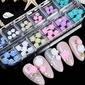 Flower Nail Art Charms Design Decoration 60 pcs 3D Nail Flower Flat Design Acrylic Nail Art Stud Decals Stickers 2021 for Women DIY Manicures Jewelry Salon Nail Decals Accessories Supplies…