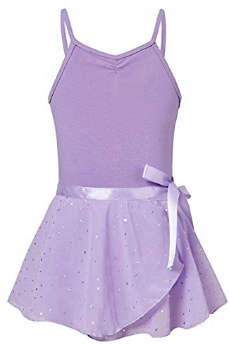 Girls Ballet Dance Dress Camisole Leotards with Shiny Tutu Skirt Removable Ballerina Outfits 3-9 Years