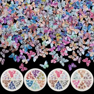 PAGOW 120pcs 3D Acrylic Butterfly Charms for Nails, 18 Colors Butterfly Nail Glitter Sets, Novel Design Acrylic Butterfly Nail Charms for Nail Art Decoration & DIY Crafting Design