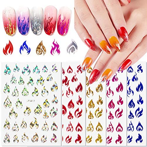 Reflections Flame Nail Art Stickers, 3D Self-Adhesive Holographic Fire Flame Nail Decals for Acrylic Nails Art Supplies 5 Sheets