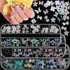 180 Pieces 3D Butterfly Nail Charms 3D Flowers Bowknot Colorful Nail Charm Acrylic Nail Art Accessories Nail Art Designs Nail Art Decoration DIY Crafting