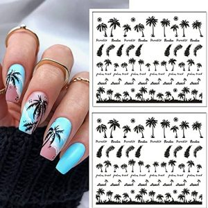 2Sheets Tropical Style Coconut Tree Transfer Paper Palm Tree Design Nail Stickers Nail Decals 3D Manicure Nail Art Decoration 2021 Coconut Tree Nail Water Decals Summer Theme Manicure Decoration