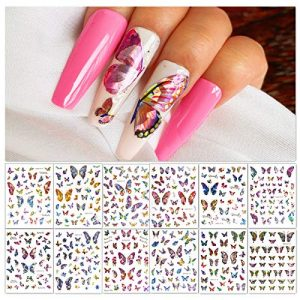 B.M.B.L Butterfly Nail Art Stickers Decals Adhesive, New Holographic Designer Nail Stickers for Nail Art(12 Sheets)