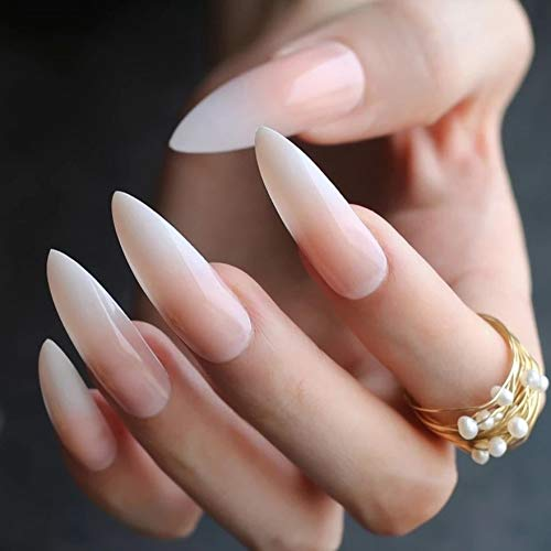 EDA LUXURY BEAUTY NATURAL NUDE PINK WHITE OMBRE FRENCH GLAMOROUS DESIGN Press On Gel Glitter Artificial Nail Tips Acrylic False Nails Extra Long Pointed Pointy Almond Stiletto Super Fashion Fake Nails