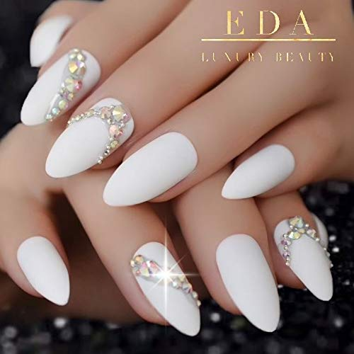 EDA LUXURY BEAUTY WHITE MATTE 3D LUXE JEWEL DESIGN Press On Nails Full Cover Acrylic Nail Kit Artificial Nail Tips False Nails Extra Long Oval Round Pointed Almond Stiletto Nail Art Fashion Fake Nails