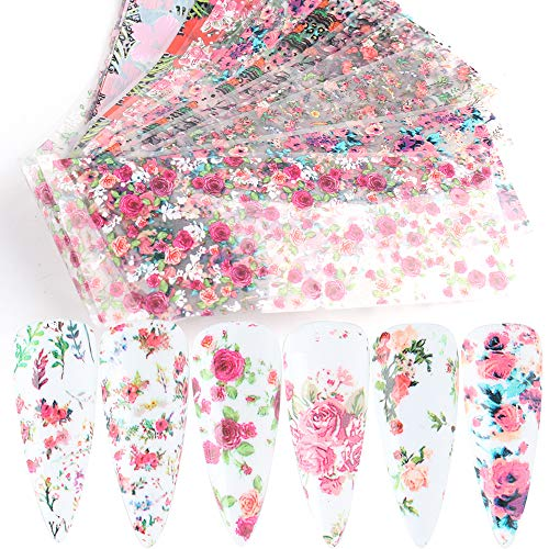 Flowers Nail Art Foil Transfer Stickers Nail Art Supplies Foil Transfers 10 Sheets Rose Flowers Nail Decals Nail Extension Gel Art Decorations for Women Poly Nail Gel DIY Design
