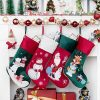 BHD BEAUTY Luxury Velvet Lovely Embroidery Pattern Set of 4 Christmas Stockings for Family Classic Fireplace Decorations Hanging Ornament for Xmas Holiday Party 21 inches