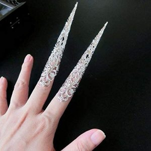 TUWAN Floral Antique Style Costume Ancient Nail Rings Set Knuckle Rings Belly Dance Accessories Finger Tip Protection(Silver)