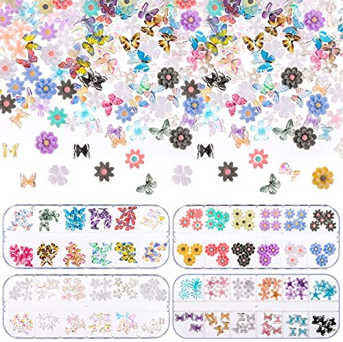 Uoeo 3D Butterfly Nail Charms Bows Nail Charm Nail Art Glitter Clear Butterfly Nail Designs 2021 White Blue Colorful Butterfly Acrylic for Nail Art Decoration & DIY Crafting Design