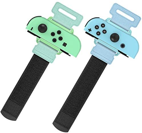 Upgraded Wrist Bands for Just Dance 2021 2020 Nintendo Switch, YUANHOT Adjustable Elastic Dance Straps for Switch Joy-Con Controllers, 2 Pack for Kids and Adults - Green/Blue