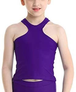 iiniim Kids Girls Two Piece Athletic Workout Sports Dance Outfits Racer Back Tank Tops with Lace Split Shorts Set