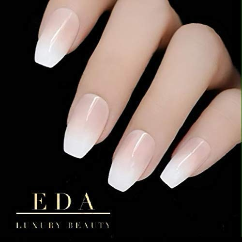 EDA LUXURY BEAUTY NATURAL NUDE PINK OMBRE WHITE FRENCH LUXE DESIGN Press On Nails Full Cover Acrylic Nail Kit Artificial Nail Tips False Nails Extra Long Ballerina Coffin Square Nail Art Fake Nails