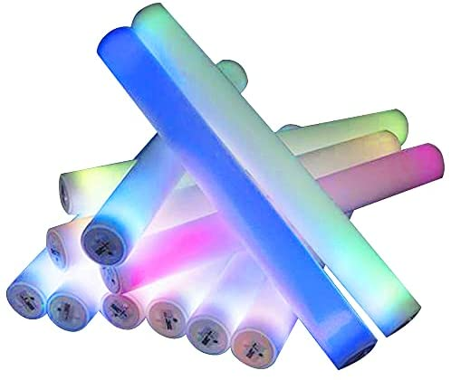ArtCreativity Light Up Foam Batons, Set of 12, LED Bat Toys for Kids and Adults with 7 Flashing Modes, Light Up Toys for Children, Cool Rave Accessories, Party Favors for Boys and Girls