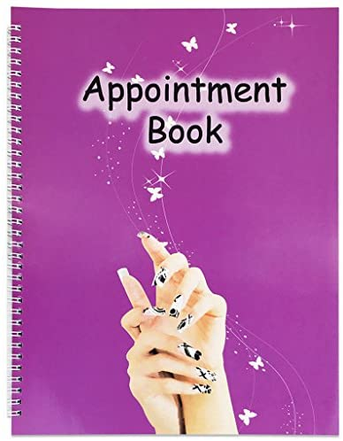 Beauticom Undated Hourly Appointment Schedule Planner Organizer Book for Massage Spas, Nail Salons, Therapists, Stylists and More (4 Columns (Nails Design))