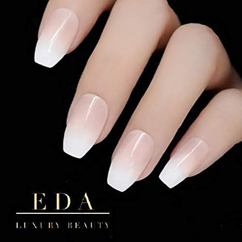 EDA LUXURY BEAUTY NATURAL NUDE PINK OMBRE WHITE FRENCH LUXE DESIGN Full Cover Press On Nails Acrylic Nail Kit Artificial Nail Tips False Nails Extra Long Ballerina Coffin Square Nail Art Fake Nails