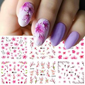 Flower Nail Art Stickers Water Transfer Nail Decals 12Sheets Colorful Nail Art Supplies Sticker Manicure Tips Accessories Decal for Women Acrylic Nail Designs Nail Art Decorations