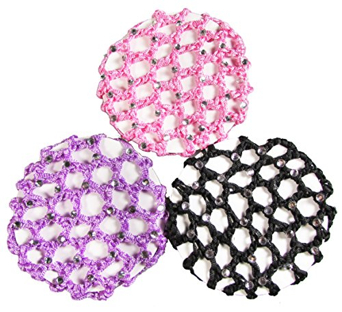 RE-Ballet Bun Cover Hair Holder - HipGirl Women Teen Girls No Crease Ouchless Stretchy Elastic Styling Hair Net for Bun, Dance Competition Accessories (3pc Rhinestone Snoods for Women Hair)