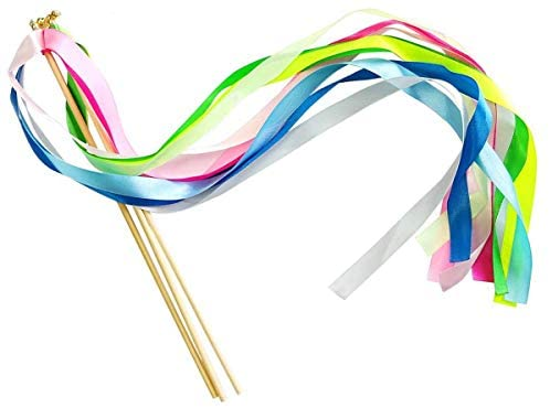 Ribbon Wand 2 Riband Party Sticks for Children's Birthday Dance Accessories, Colorful