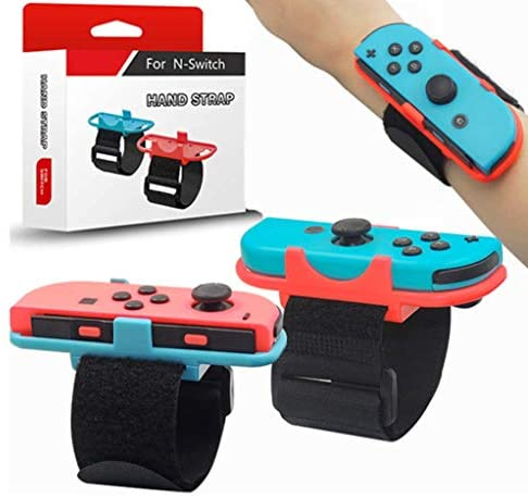Wrist Bands for Just Dance 2021 2020 2019 and Zumba Burn It Up for Nintendo Switch Controller Game, Adjustable Elastic Strap for Joy-Cons Controller, Fit for 7-10 in Waist, 2 Pack(Blue and Red)