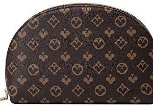 semicircle shell Makeup Bag Organizer Travel Ladies Toiletry Kit Cosmetic Bag Case Luxury Designer Beauty Case Wash Pouch Clutch (Brown)