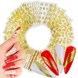 22 Sheets Gold Nail Art Stickers Luxury Nail Decals Holographic Metallic Letters Flowers Chains Line Diamond Heart Design 3D Nail Supplies for Women Girls Manicure Tips Charms Decoration Nail Sticker