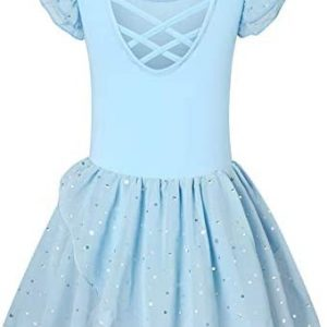 Girls Ballet Dance Dress with Tutu Skirted Criss Cross Back Leotard Toddler Ballerina Outfits Clothes for 3-9 Years