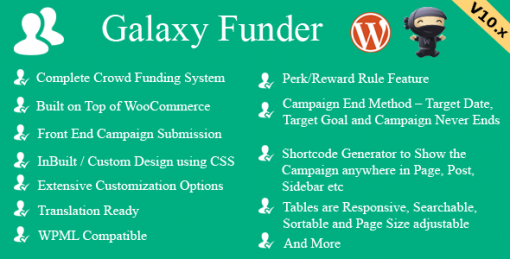 Galaxy Funder - WooCommerce Crowdfunding System