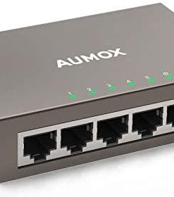 Aumox 5 Port Gigabit Ethernet Network Switch, Desktop, Unmanaged Ethernet Splitter, Durable Metal Casing, Traffic Optimization, Fanless Quite, Plug and Play (AM-SG205)