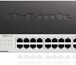 D-Link Ethernet Switch, 24 Port Gigabit Unmanaged Network Internet Hub Desktop Rackmount, Plug N Play (DGS-1024C),Black