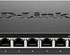 D-Link Ethernet Switch, 8 Port Gigabit Unmanaged Metal Fanless Desktop or Wall Mount Design (DGS-108)