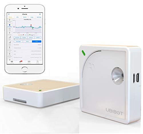 UbiBot Industrial Wireless Remote Temperature Humidity Ambient Light Sensor 2.4GHZ WiFi 24/7 Alerts Data Logger Free iPhone/Android Apps Monitor Anywhere, Anytime! IFTTT External Sensor Probe (WS1)