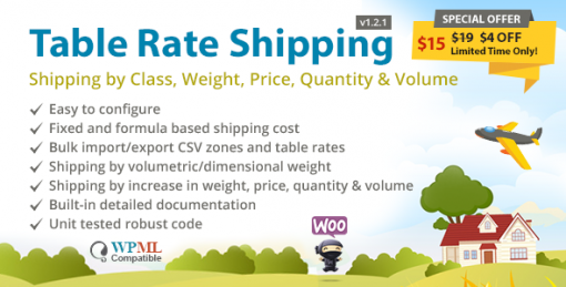 Table Rate Shipping by Class, Weight, Price, Quantity & Volume for WooCommerce