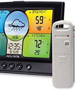 AcuRite 02082M Home Temperature & Humidity Station with 3 Indoor / Outdoor Sensors,Full Color