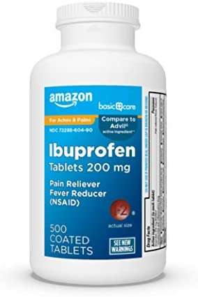 Amazon Basic Care Ibuprofen Tablets 200 mg, Pain Reliever/Fever ulcer (NSAID), Red, 500 Count