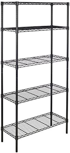Amazon Basics 5-Shelf Adjustable, Heavy Duty Storage Shelving Unit (350 lbs loading capacity per shelf), Steel Organizer Wire Rack, Black,(36L x 14W x 72H)