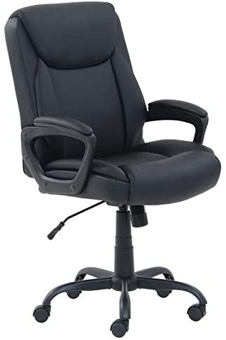 Amazon Basics Classic Puresoft PU-Padded Mid-Back Office Computer Desk Chair with Armrest - Black