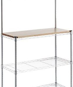 "Amazon Basics Kitchen Storage Baker's Rack with Wood Table, Chrome/Wood - 63.4"" Height"
