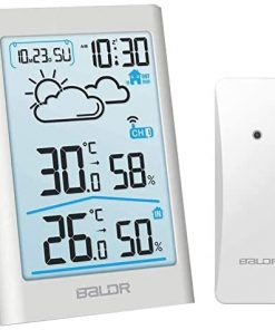 BALDR Wireless Weather Station, Digital Indoor Outdoor Thermometer Hygrometer with Backlight LCD Display and External Sensor, Ideal for Weather Forecast Monitoring, Alarm Clock - White