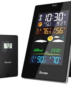Govee Weather Station Wireless Indoor Outdoor, 12h Weather Forecast with 1 Outdoor Sensor, Temperature Humidity Monitor Gauge with Weather Clock, HD Color Large Screen, Backlight, Snooze Mode