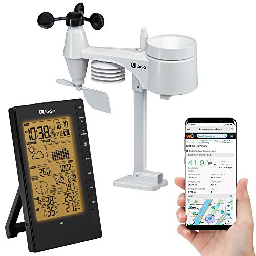 Logia 5-in-1 Indoor/Outdoor Weather Station Remote Monitoring System w/PC Connect | Temperature, Humidity, Wind Speed/Direction, Rain & More | Wireless Backlit LCD Screen Forecast Data, Alarm, Alerts